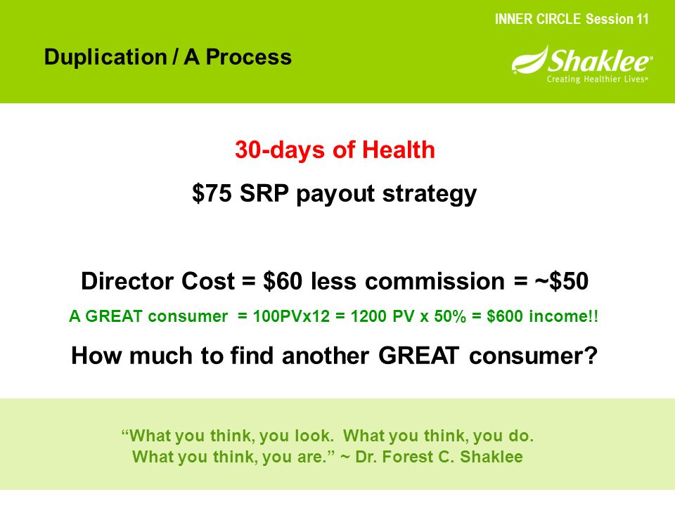 Director Cost = $60 less commission = ~$50