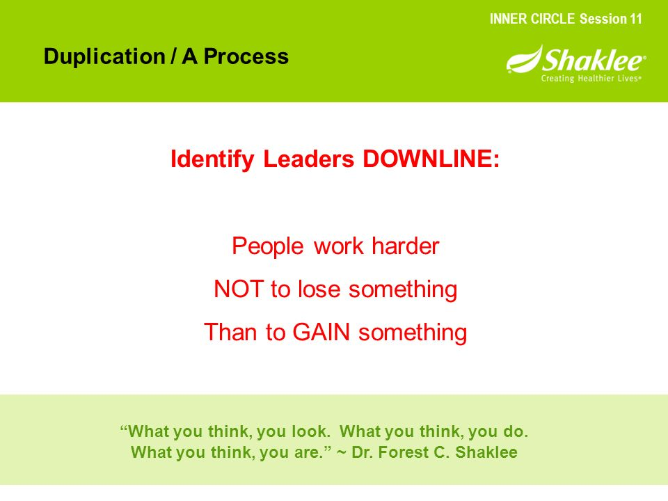Identify Leaders DOWNLINE: