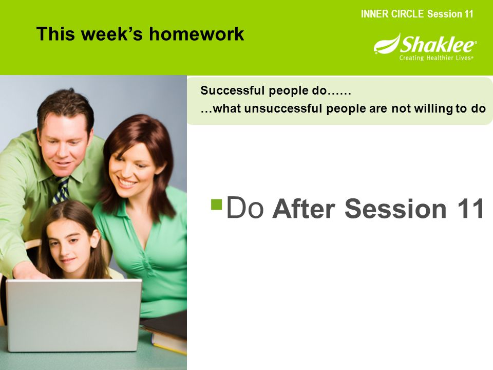Do After Session 11 This week's homework Successful people do……