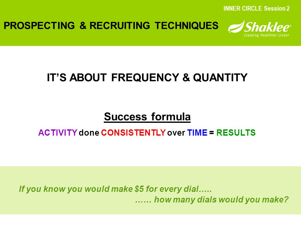 IT'S ABOUT FREQUENCY & QUANTITY Success formula