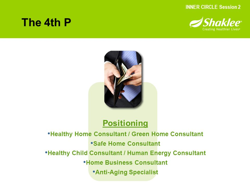The 4th P Positioning Healthy Home Consultant / Green Home Consultant