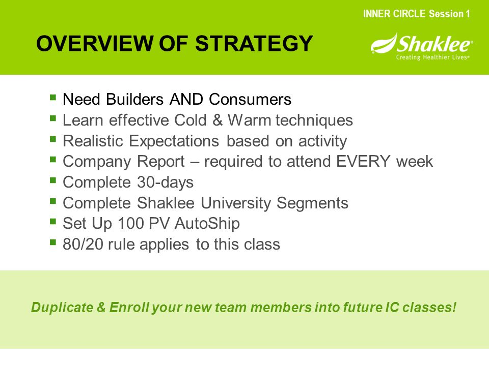 OVERVIEW OF STRATEGY Need Builders AND Consumers