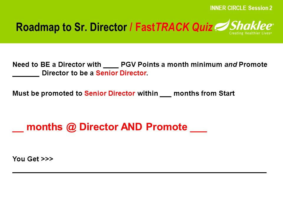 Roadmap to Sr. Director / FastTRACK Quiz