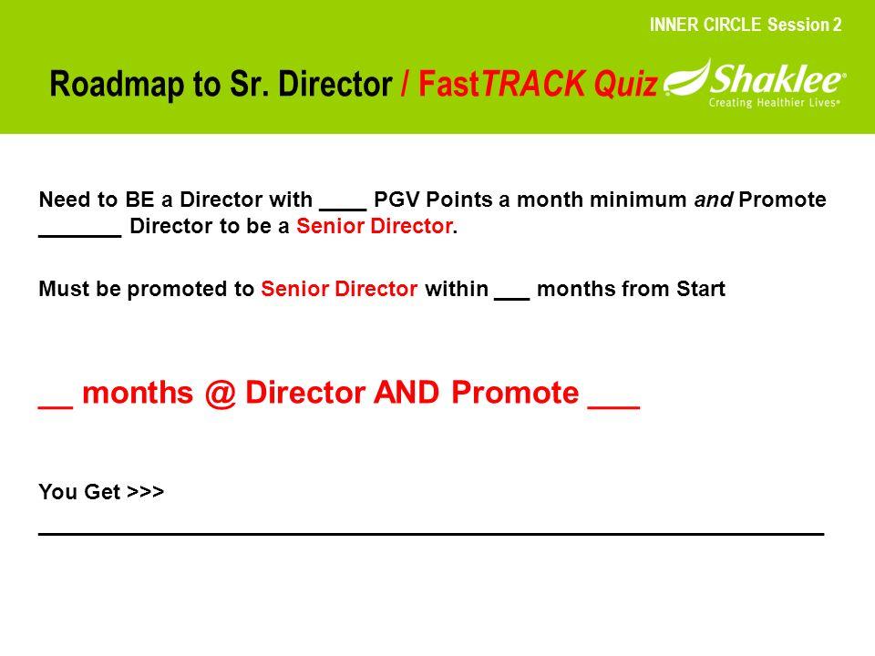 Roadmap to Sr. Director / FastTRACK Quiz