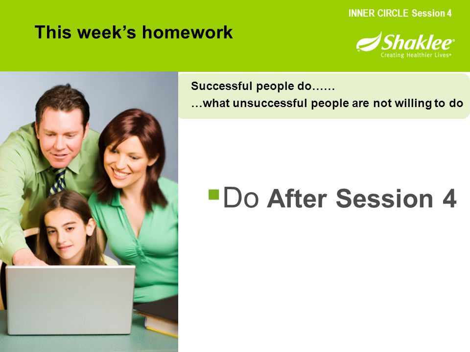 Do After Session 4 This week's homework Successful people do……