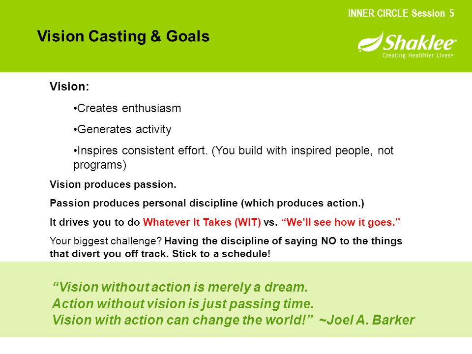 Vision Casting & Goals Vision without action is merely a dream.