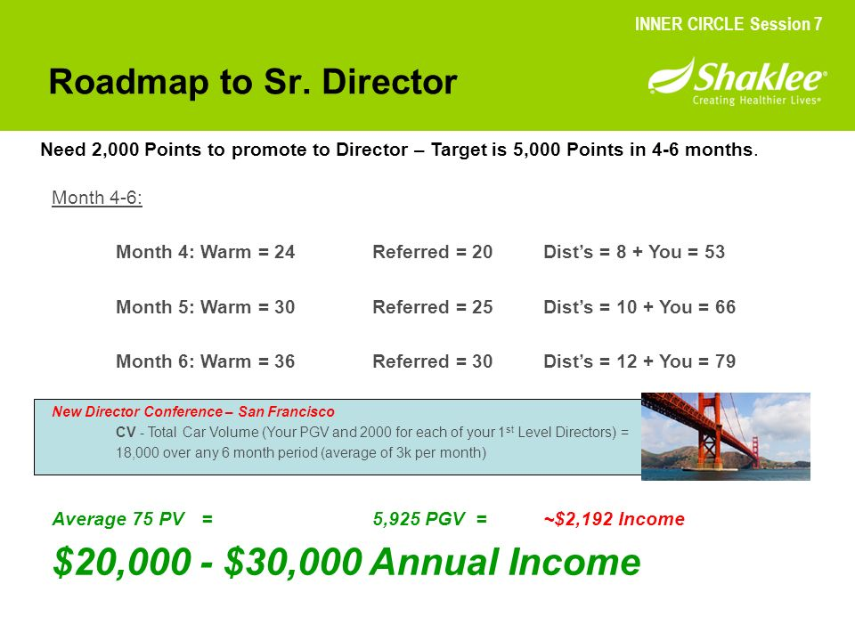 $20,000 - $30,000 Annual Income Roadmap to Sr. Director