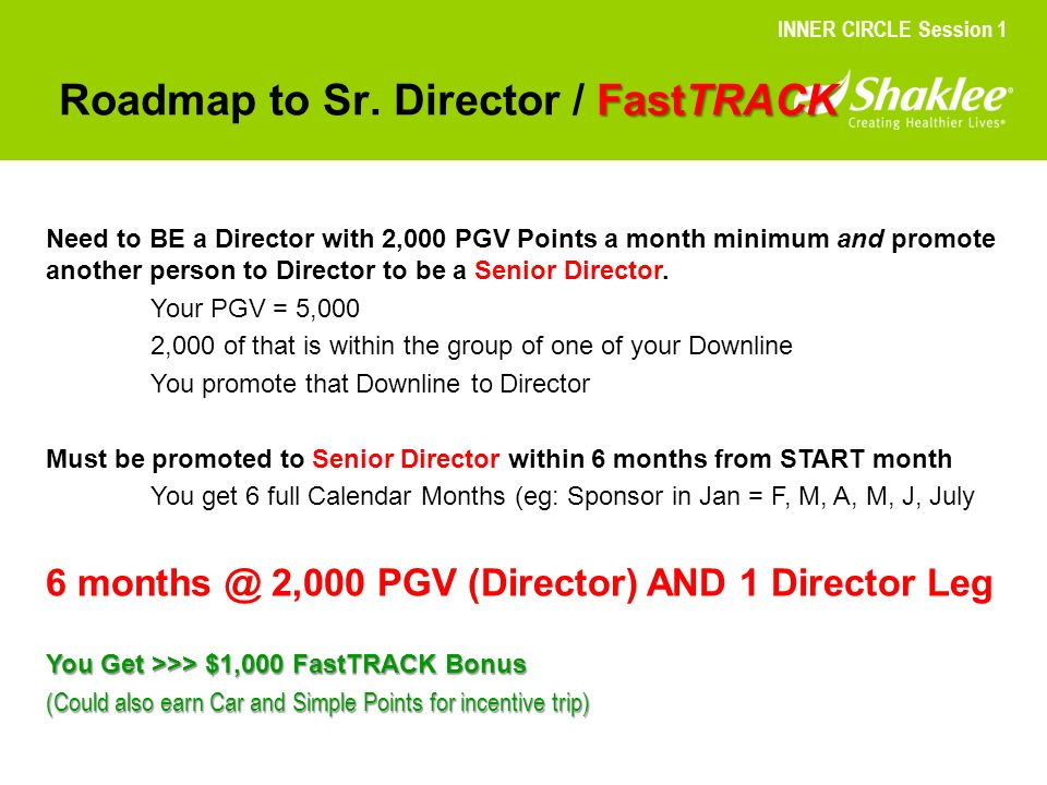 Roadmap to Sr. Director / FastTRACK