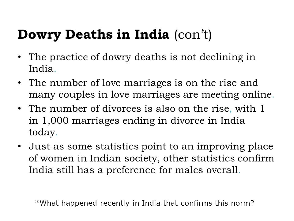Dowry Deaths in India (con't)