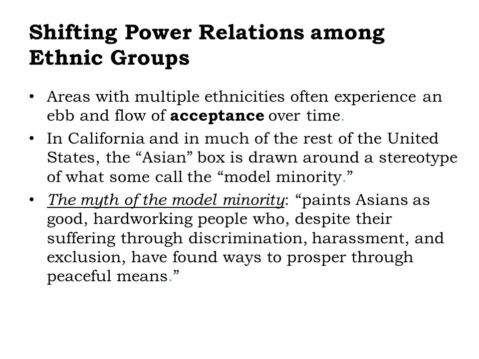 Shifting Power Relations among Ethnic Groups