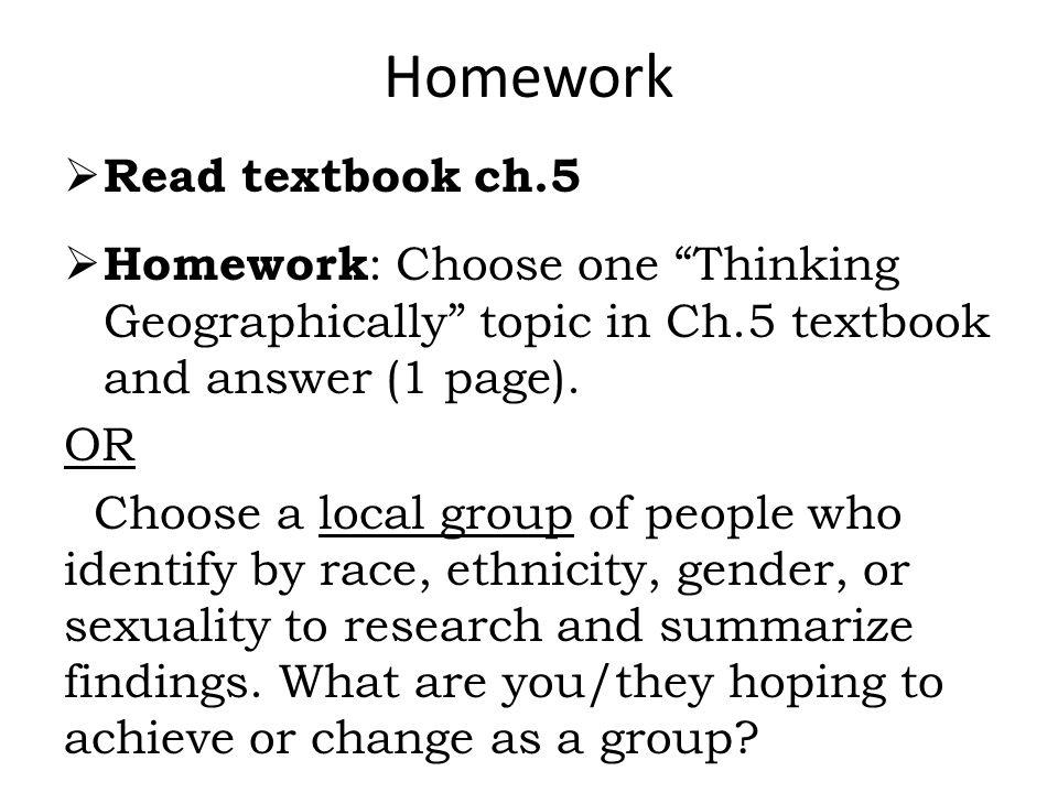 Homework Read textbook ch.5