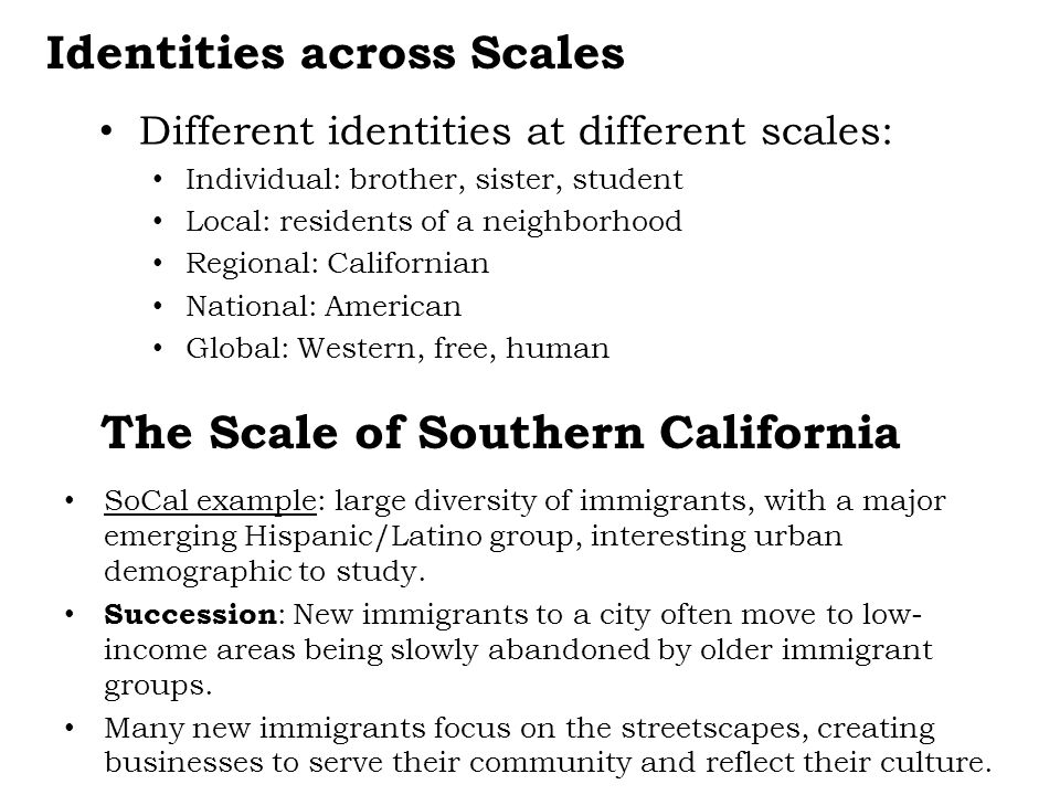 Identities across Scales