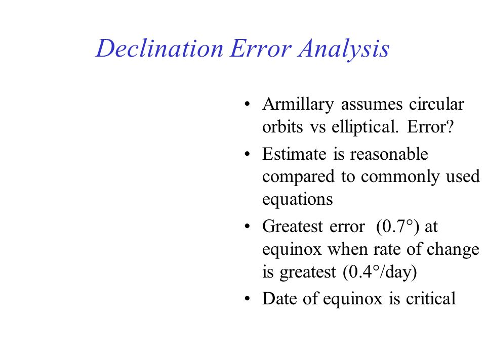 Declination Error Analysis