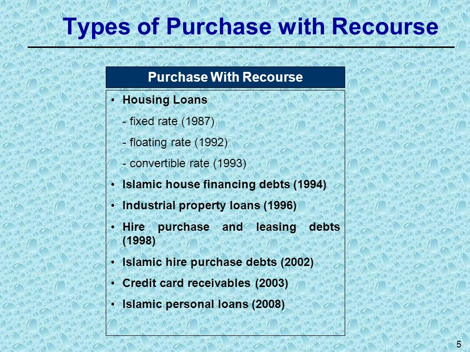 Types of Purchase with Recourse