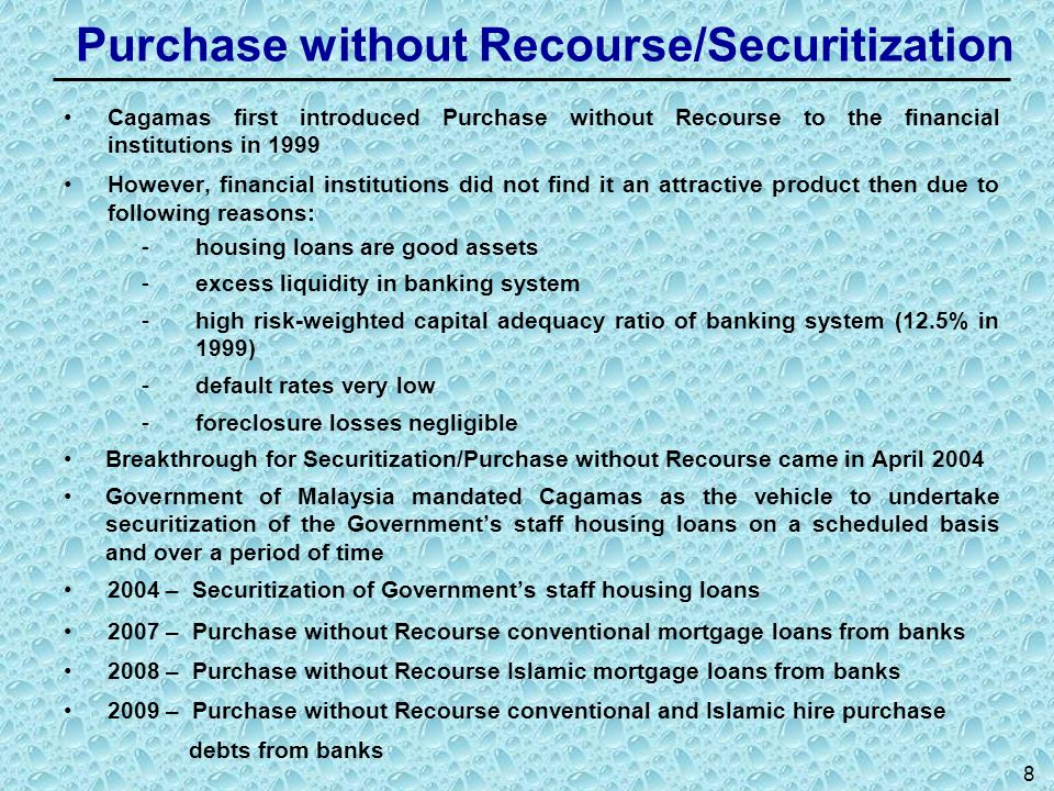Purchase without Recourse/Securitization