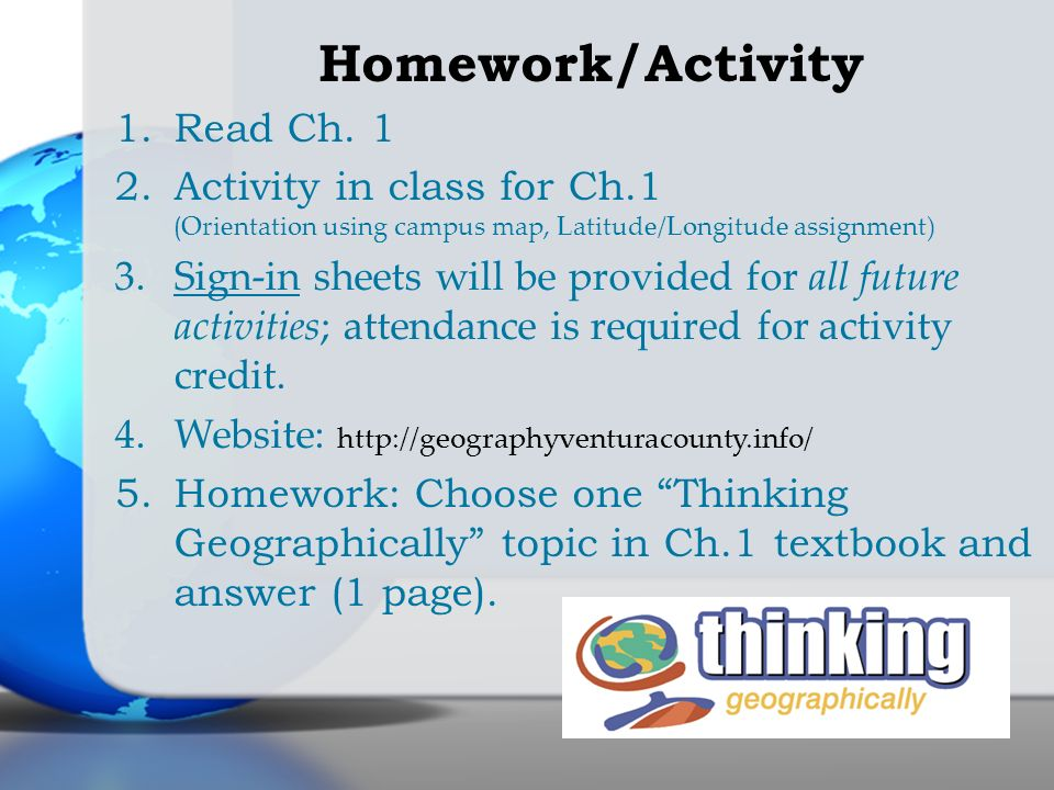 Homework/Activity Read Ch. 1