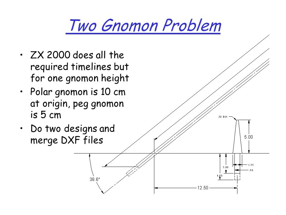 Two Gnomon Problem ZX 2000 does all the required timelines but for one gnomon height. Polar gnomon is 10 cm at origin, peg gnomon is 5 cm.