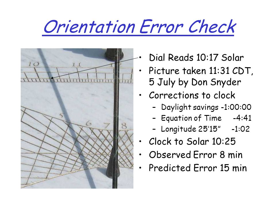 Orientation Error Check