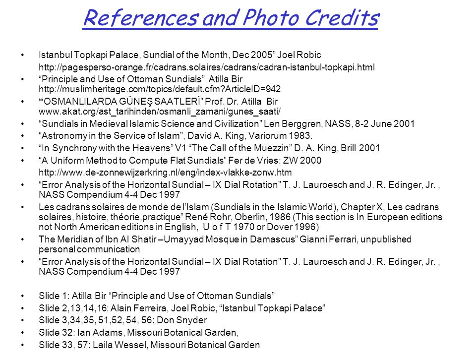 References and Photo Credits