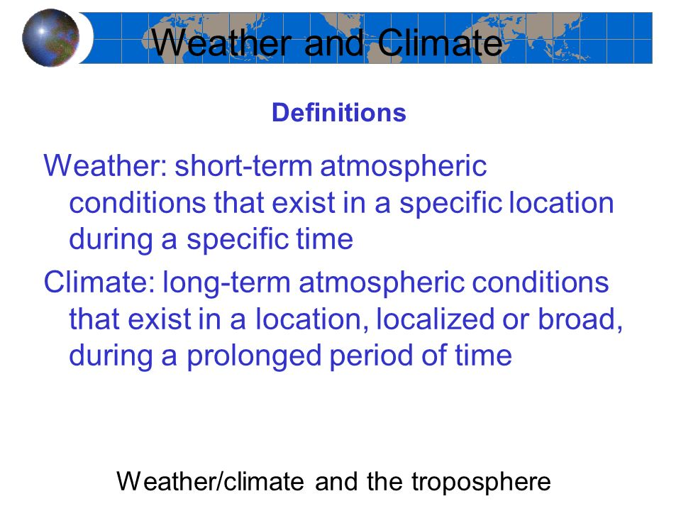 Weather/climate and the troposphere