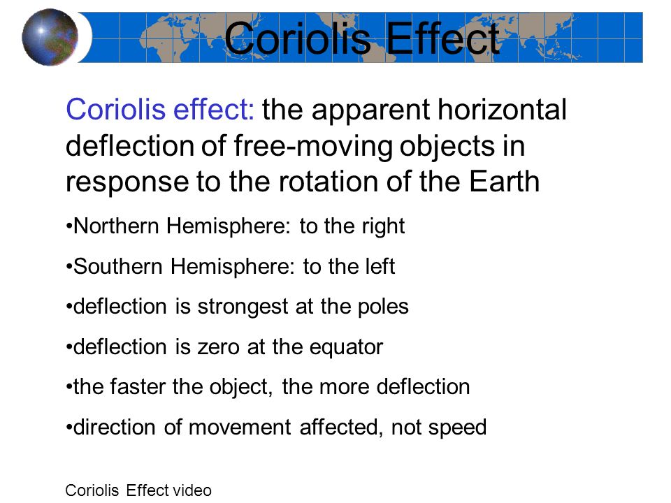 Coriolis Effect Coriolis effect: the apparent horizontal deflection of free-moving objects in response to the rotation of the Earth.