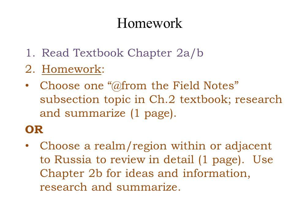 Homework Read Textbook Chapter 2a/b Homework:
