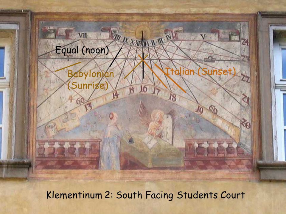 Equal (noon) Babylonian (Sunrise) Italian (Sunset) Klementinum 2: South Facing Students Court