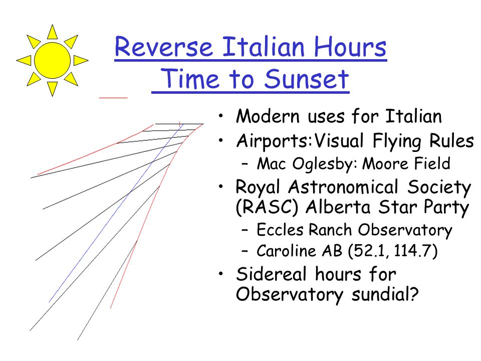 Reverse Italian Hours Time to Sunset