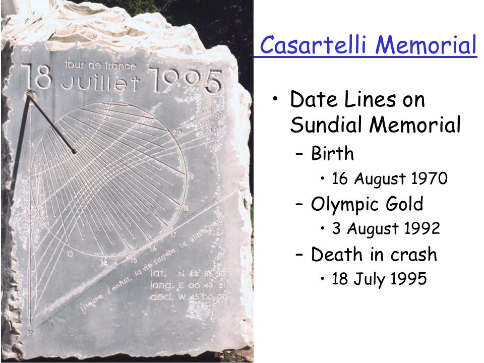 Casartelli Memorial Date Lines on Sundial Memorial Birth Olympic Gold