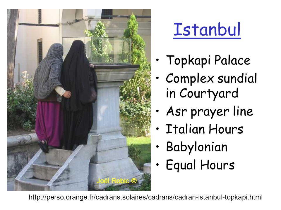 Istanbul Topkapi Palace Complex sundial in Courtyard Asr prayer line