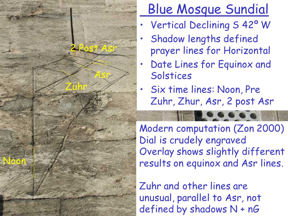 Blue Mosque Sundial Vertical Declining S 42º W