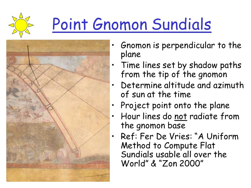 Point Gnomon Sundials Gnomon is perpendicular to the plane