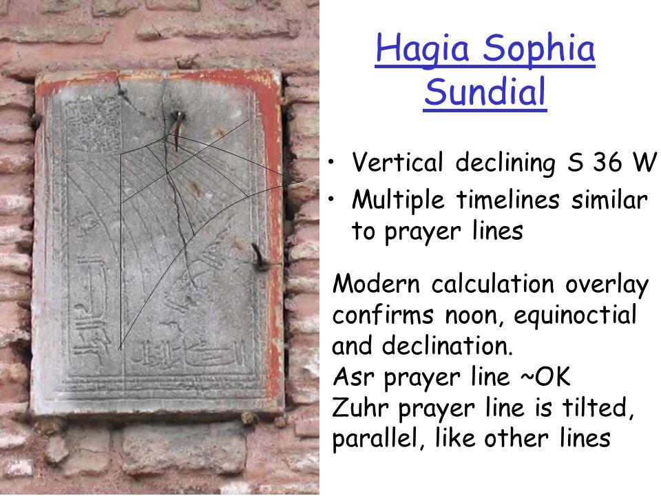 Hagia Sophia Sundial Vertical declining S 36 W