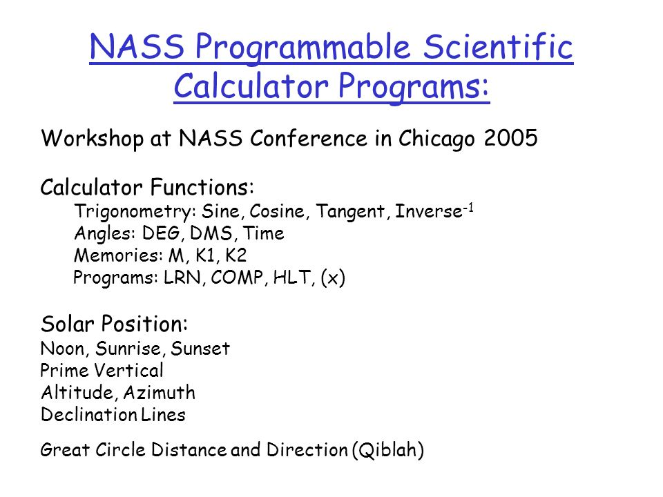 NASS Programmable Scientific Calculator Programs: