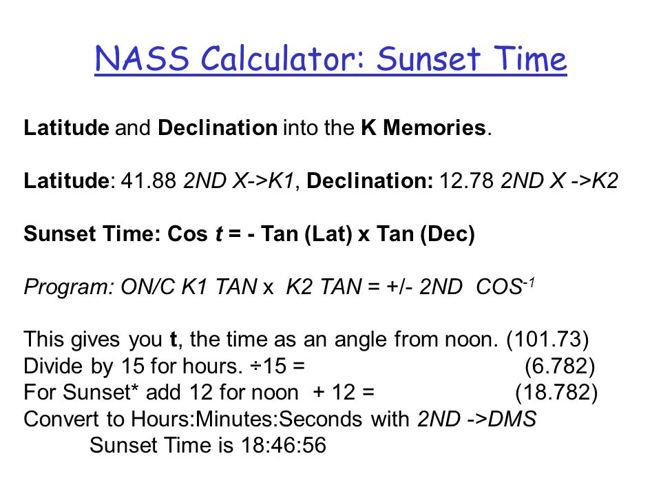 NASS Calculator: Sunset Time