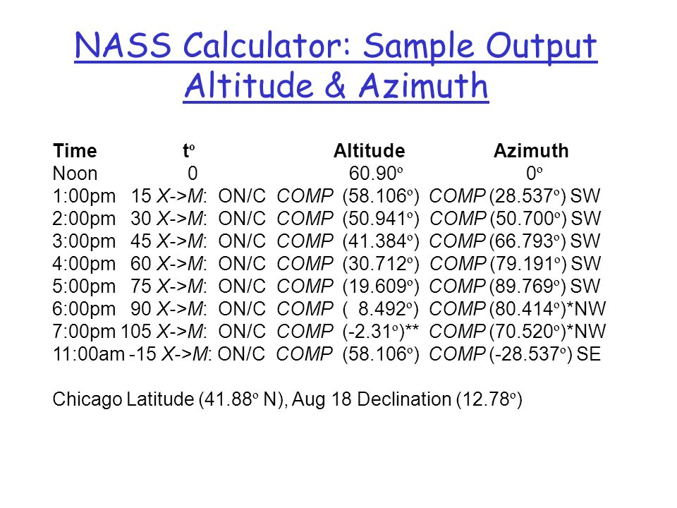 NASS Calculator: Sample Output Altitude & Azimuth
