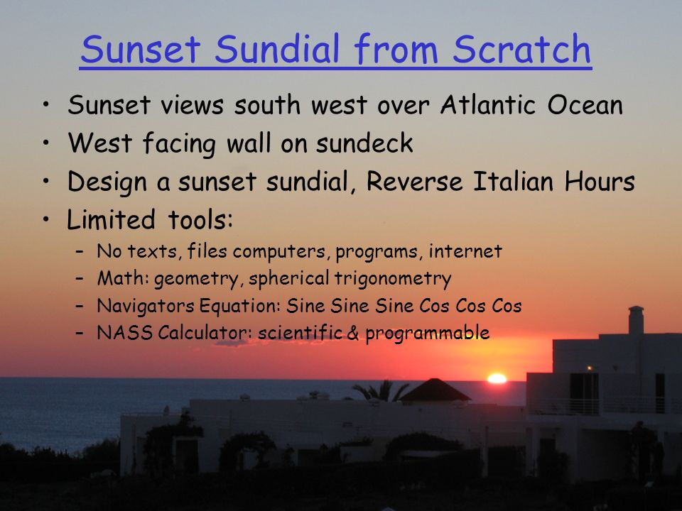 Sunset Sundial from Scratch