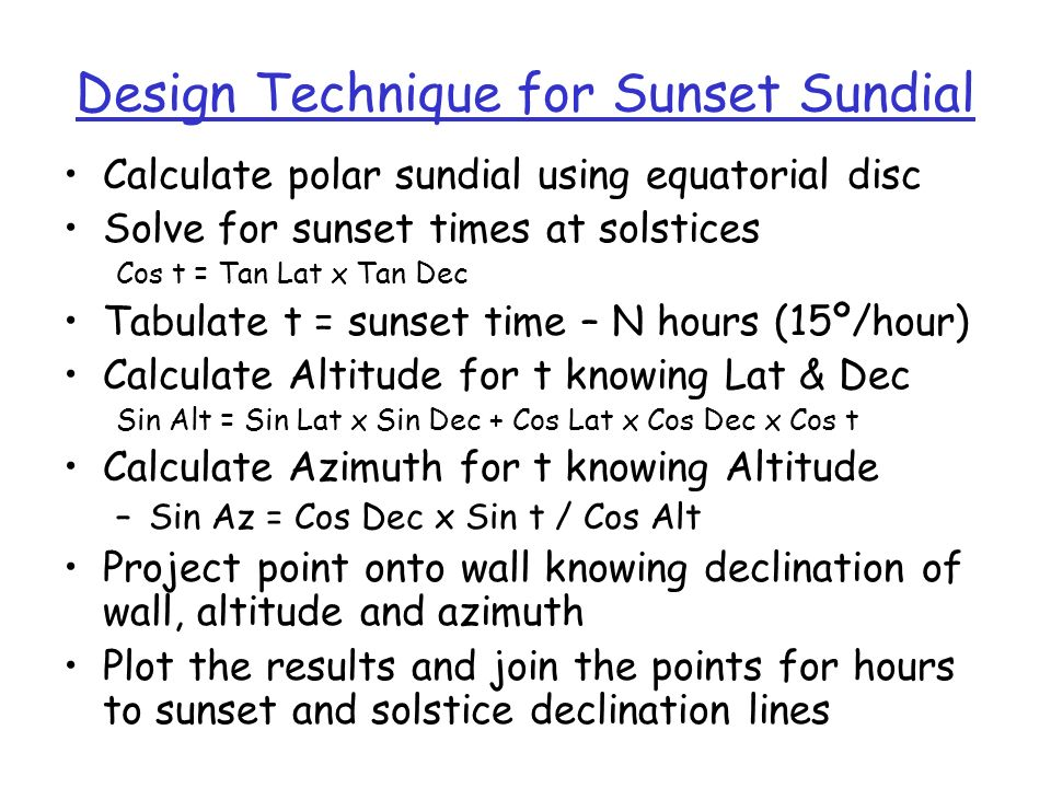 Design Technique for Sunset Sundial