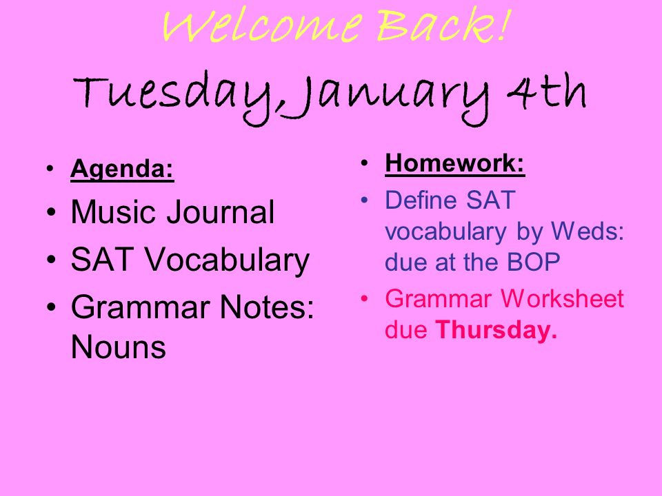 Welcome Back Tuesday January 4th ppt download – Sat Vocabulary Worksheets