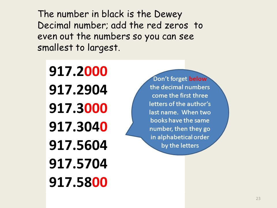 The Number In Black Is Dewey Decimal Add Red Zeros To Even