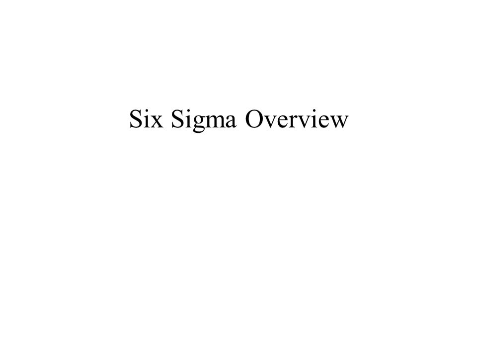 Six Sigma Overview Slide Verbal Flip Chart Training Matl. Photo