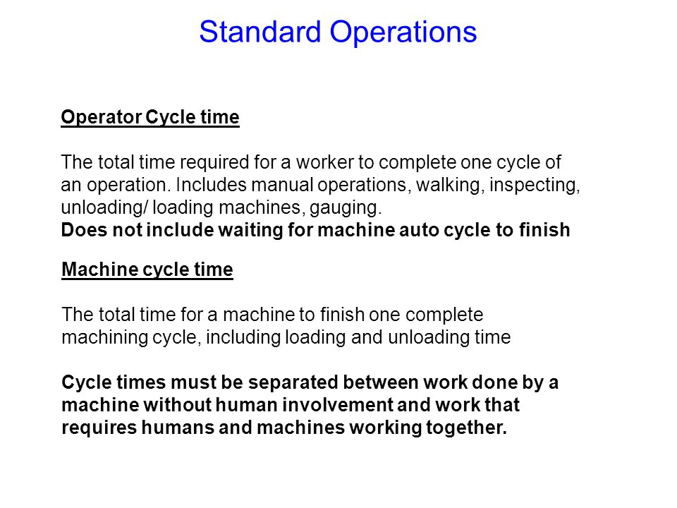 Standard Operations Operator Cycle time