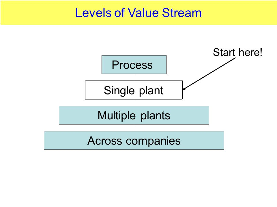 Levels of Value Stream Process Single plant Single plant