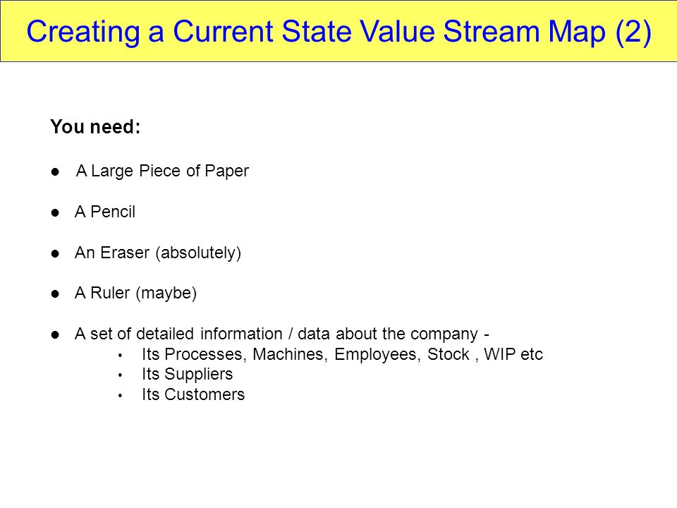 Creating a Current State Value Stream Map (2)