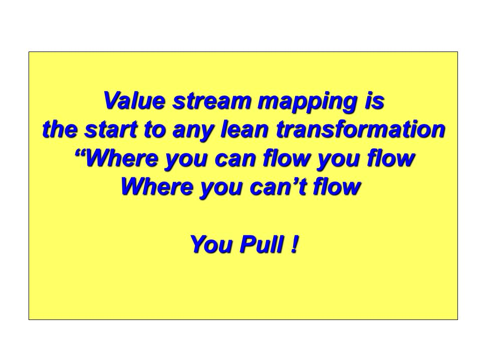 Value stream mapping is the start to any lean transformation