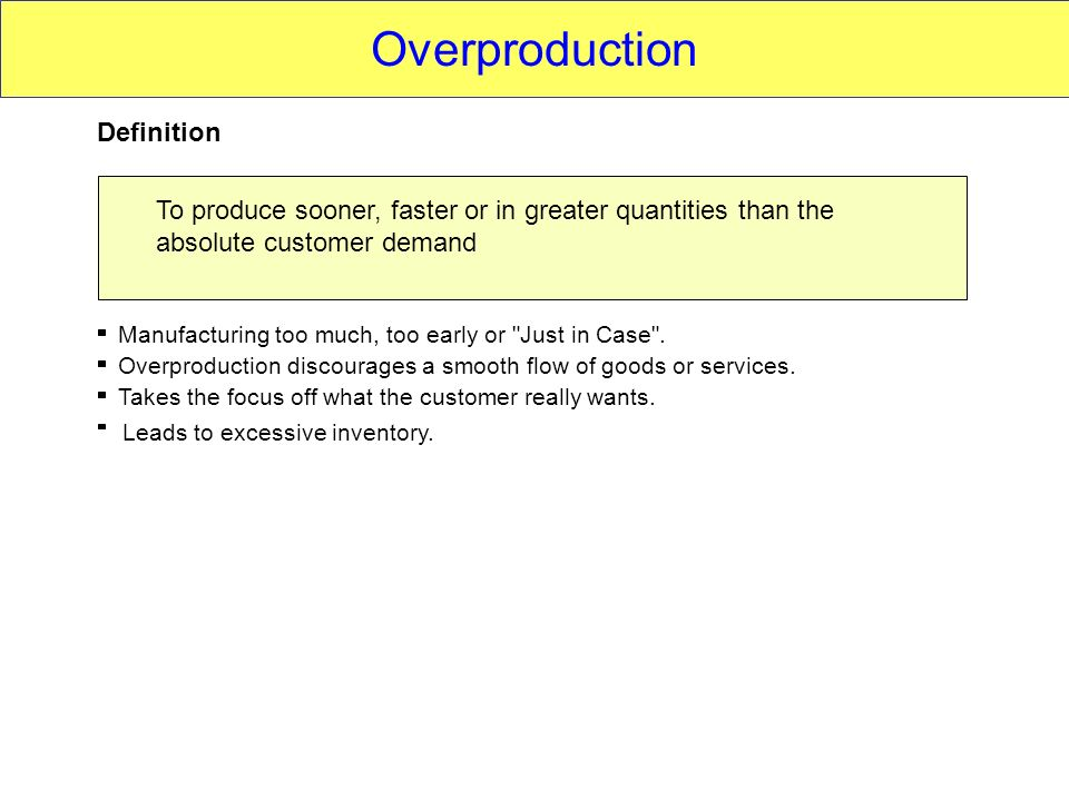 Overproduction Definition