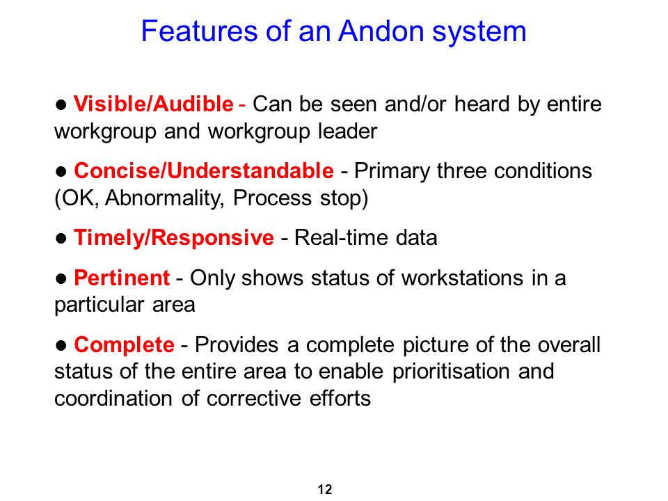 Features of an Andon system