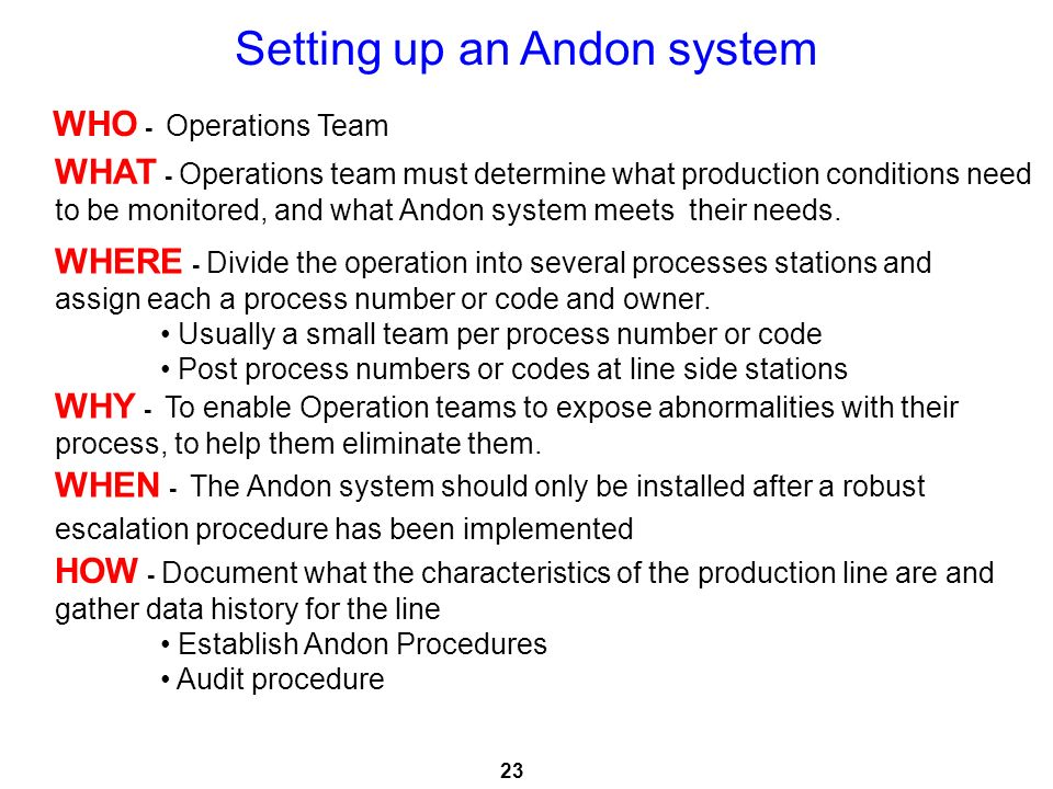 Setting up an Andon system