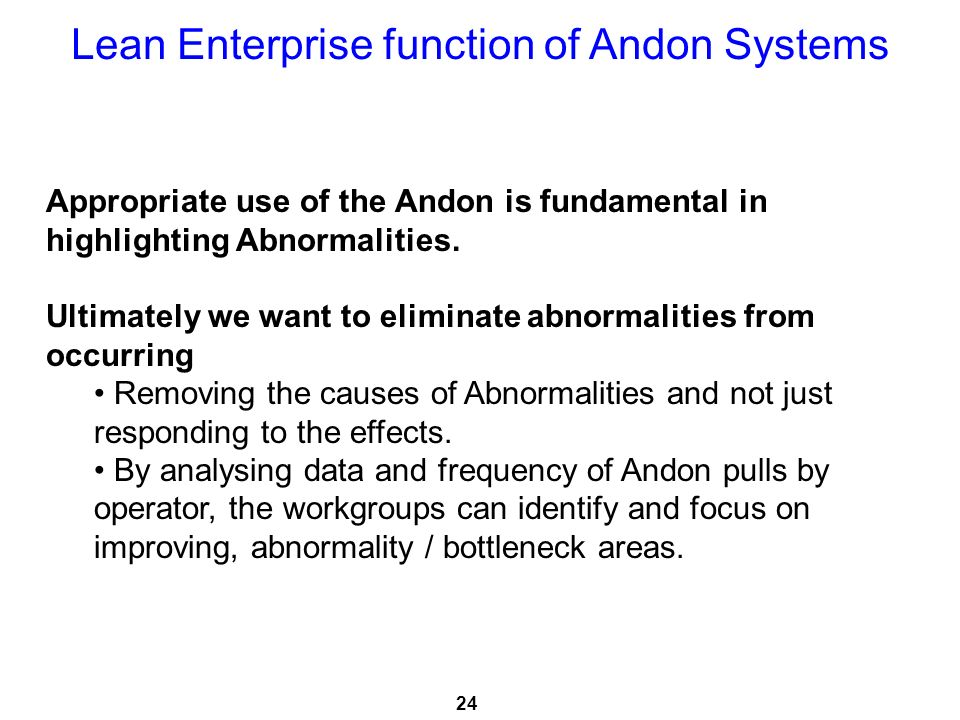 Lean Enterprise function of Andon Systems