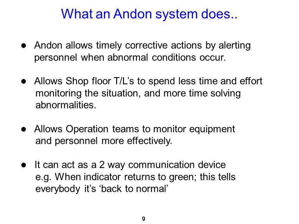 What an Andon system does..